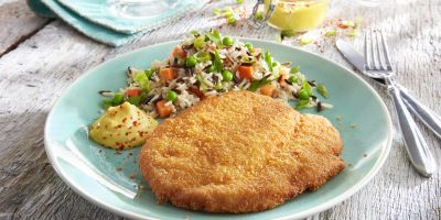 Turkey excalope breaded